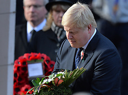 Foreign Secretary Boris Johnson lays a wreath during the annual Remembrance Sunday Service at the Cenotaph memorial in Whitehall, central London, held in tribute for members of the armed forces who have died in major conflicts.