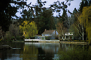 Image of homes along the Deschutes River in Bend, Oregon, Pacific Northwest by Andrea Wells