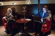 FRAN FINELATER; BRETT SYKES, Absent Friends - press night  afterparty. Mint Leaf. Haymarket. London. Thursday 9 February 2012