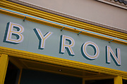 Sign for the food and burger restaurant brand Byron in Birmingham, United Kingdom.