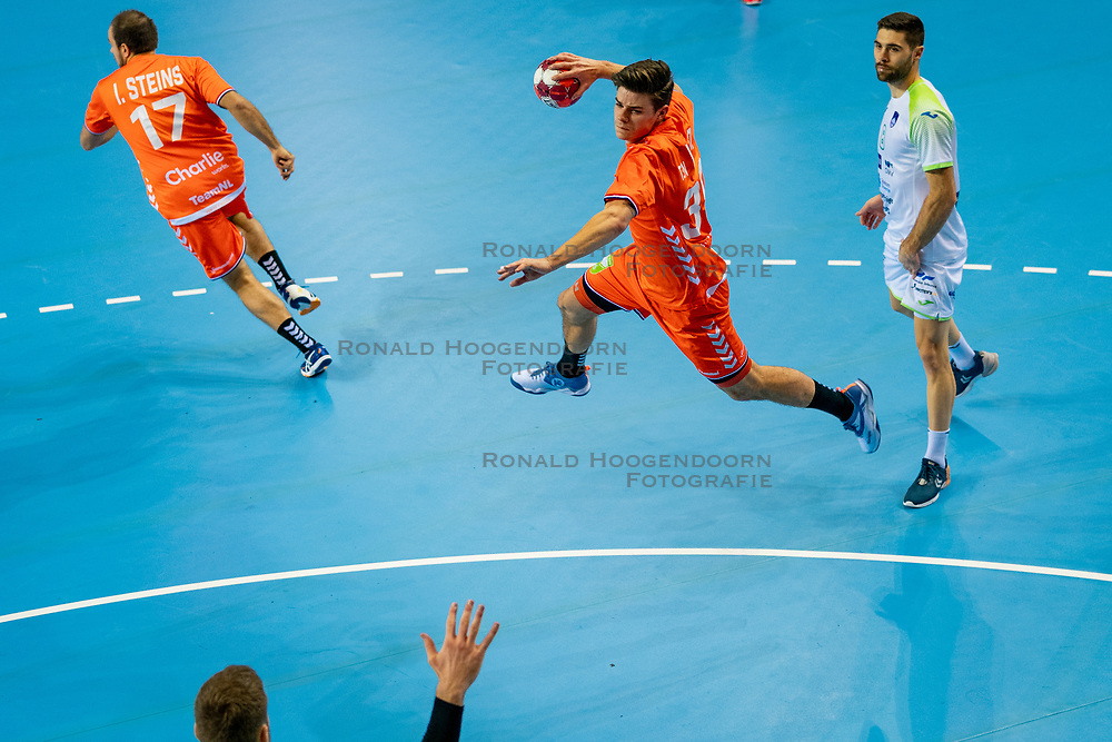 The Dutch handball player Rutger ten Velde in action against Slovenia during the European Championship qualifying match on January 6, 2020 in Topsportcentrum Almere
