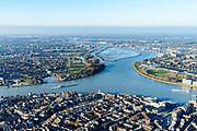 Nederland, Zuid-Holland, Dordrecht, 07-02-2018; Eiland van Dordrecht, samenstroom van Oude Maas (links), Beneden-Merwede (rechts) en de Noord. In het verschiet het eiland van de Sophiapolder. Historische binnenstad Dordrecht in de voorgrond.<br /> Dordrecht Island with confluende of three rivers.<br /> <br /> luchtfoto (toeslag op standard tarieven);<br /> aerial photo (additional fee required);<br /> copyright foto/photo Siebe Swart