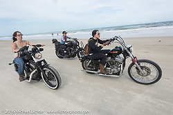 Deneille Basualdo, Leticia Cline and Kissa Von Addams riding on Daytona Beach during Daytona Bike Week 75th Anniversary event. FL, USA. Thursday March 3, 2016.  Photography ©2016 Michael Lichter.
