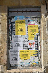 Anti-Pass Sanitaire (Covid vaccine passport) protest posters, Ales, Southern France 2021