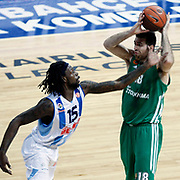 Fenerbahce Ulker's James Gist (L) and Panathinaikos's Konstantinos Kaimakoglou (R) during their Euroleague Top 16 week 3 game 3 basketball match Fenerbahce Ulker between Panathinaikos at Fenerbahce Ulker Sports Arena in Istanbul Turkey on Thursday 02 February 2012. Photo by TURKPIX