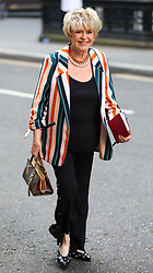 © Licensed to London News Pictures. 18/07/2018. London, UK. Gloria Hunniford arrives at the Rolls Building of the High Court in London where judges will deliver their decision on Sir Cliff Richard's claim for damages against the BBC for loss of earnings. The 77-year-old singer is suing the corporation after his home in Sunningdale, Berkshire was raided following allegations of sexual assault made to Metropolitan Police. Photo credit: Rob Pinney/LNP
