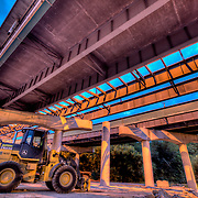 Underneath Interstate 35 undergoing repairs by MODOT near downtown Kansas City, Missouri along Southwest Boulevard.