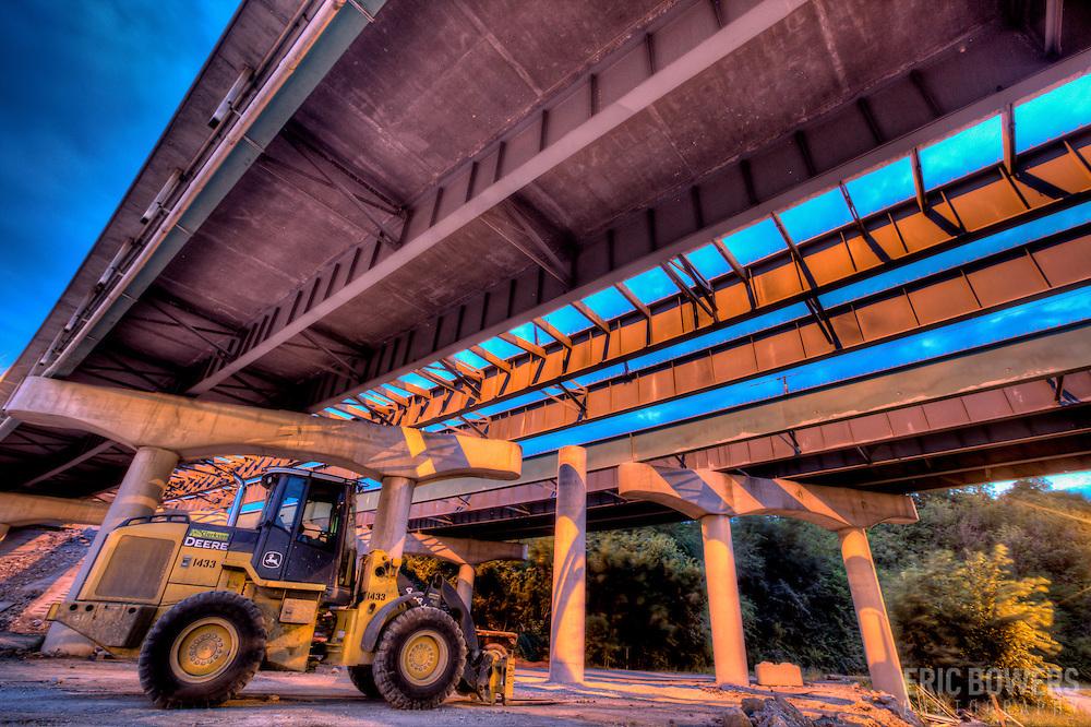 Underneath Interstate 35 undergoing repairs by MODOT near downtown Kansas City, Missouri along Southwest Boulevard.