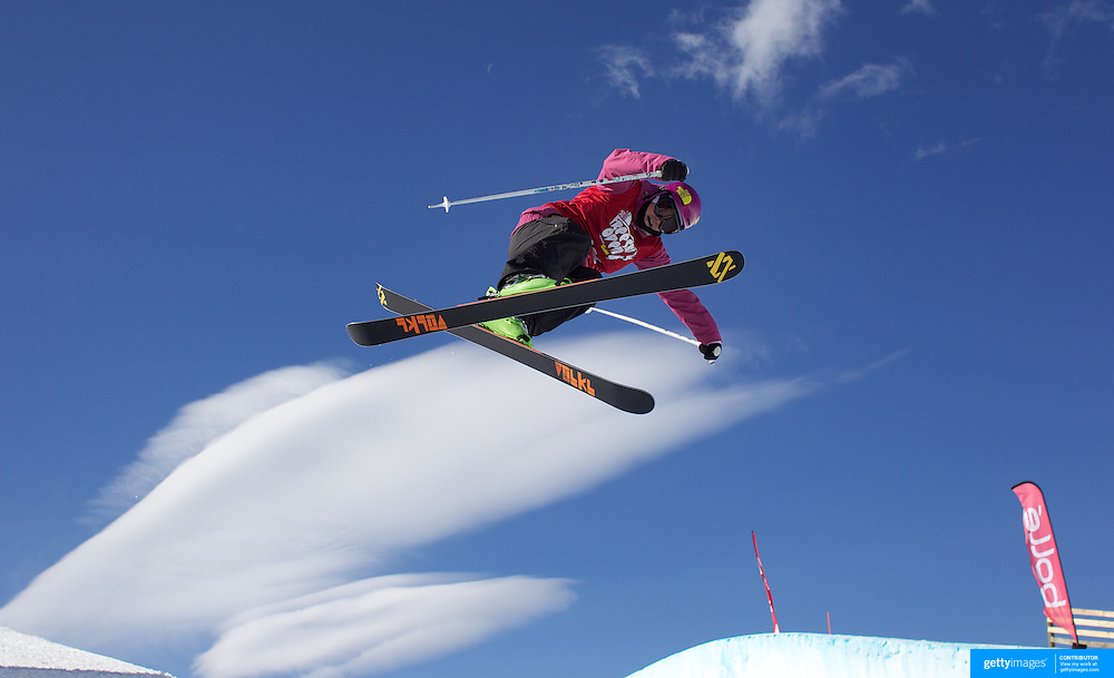Janina Kuzma, New Zealand, in action during her third place finish in the Women's Halfpipe Finals during The North Face Freeski Open at Snow Park, Wanaka, New Zealand, 3rd September 2011. Photo Tim Clayton..