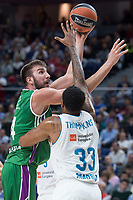 Real Madrid Trey Thompkins and Unicaja Dejan Musli during Turkish Airlines Euroleague match between Real Madrid and Unicaja at Wizink Center in Madrid, Spain. November 16, 2017. (ALTERPHOTOS/Borja B.Hojas)