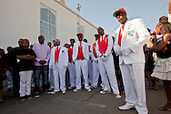 """Pall bearers.<br /> Funeral services for Kevin """"Flipside"""" White at Macedonia Church in Watts.<br /> White was shot dead in what is believed to be an unprovoked attack during a gang conflict at Watts' Nickerson Gardens and Jordan Downs housing projects.<br /> Flipside, 44, was a founding member of Watts' first major label hip hop act, O.F.T.B. (Operation From The Bottom)."""