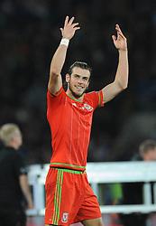 Gareth Bale of Wales celebrates qualifying for Euro 2016 - Mandatory byline: Dougie Allward/JMP - 07966 386802 - 13/10/2015 - FOOTBALL - Cardiff City Stadium - Cardiff, Wales - Wales v Andorra - European Qualifier 2016 - Group B