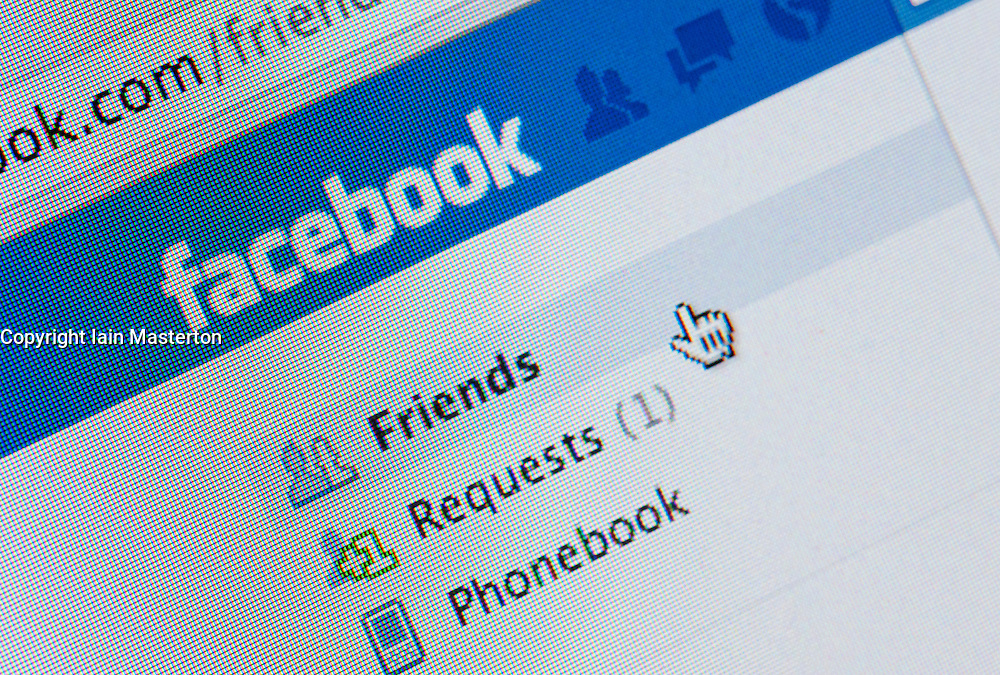Detail of screenshot from website of Facebook  social networking website