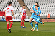Cheltenham Town Forward George Lloyd(19) scores a goal 0-1 and celebrates during the EFL Sky Bet League 2 match between Stevenage and Cheltenham Town at the Lamex Stadium, Stevenage, England on 20 April 2021.
