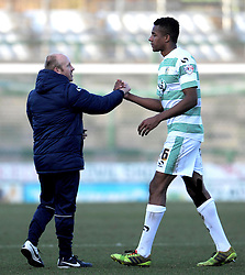 Yeovil Town's Coach Darren Way and Yeovil Town's Stephen Arthurworrey celebrate - Photo mandatory by-line: Harry Trump/JMP - Mobile: 07966 386802 - 07/03/15 - SPORT - Football - Sky Bet League One - Yeovil Town v Oldham Athletic - Huish Park, Yeovil, England.
