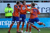 Fotball<br /> Norge<br /> 27.04.2012<br /> Foto: Kenneth Hjelle, Digitalsport<br /> <br /> Tippeligaen<br /> Aalesund v Rosenborg 2:2<br /> <br /> Lars Fuhre (L) - Aalesund<br /> Jubler for utlikningen til 1:1<br /> Jonathan Tollås Nation (4) - Enar Jaager (R)