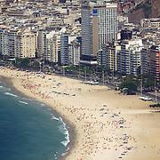 Copacabana Beach, Rio de Janeiro's most famous beach viewed from Sugar Load Mountain, Rio de Janeiro,  Brazil. 27th August 2010. Photo Tim Clayton.