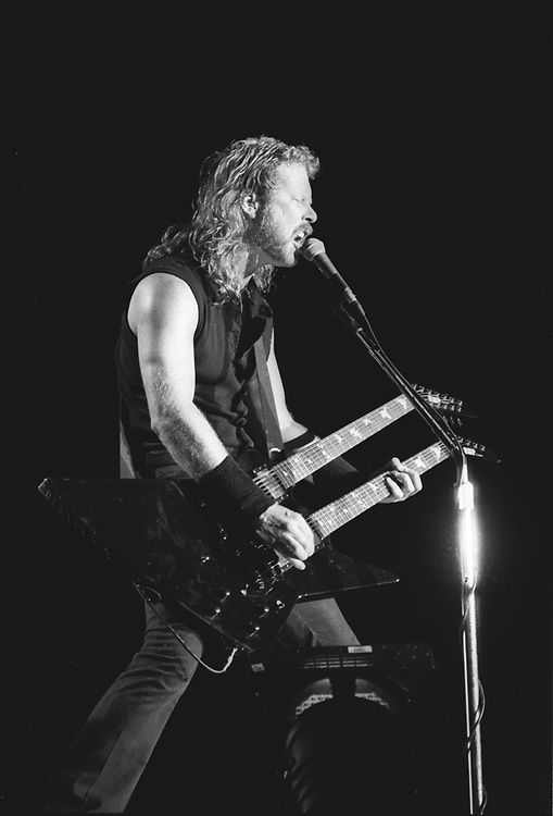 James Hetfield, singer and guitar player of the band Metallica performs at The Spectrum in Philadelphia, Pennsylvania on April 7th, 1992. ©Lisa Lake