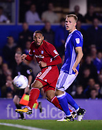 Kenneth Zohore of Cardiff City (l)  in action .EFL Skybet championship match, Birmingham city v Cardiff city at St.Andrew's stadium in Birmingham, the Midlands on Friday 13th October 2017.<br /> pic by Bradley Collyer, Andrew Orchard sports photography.