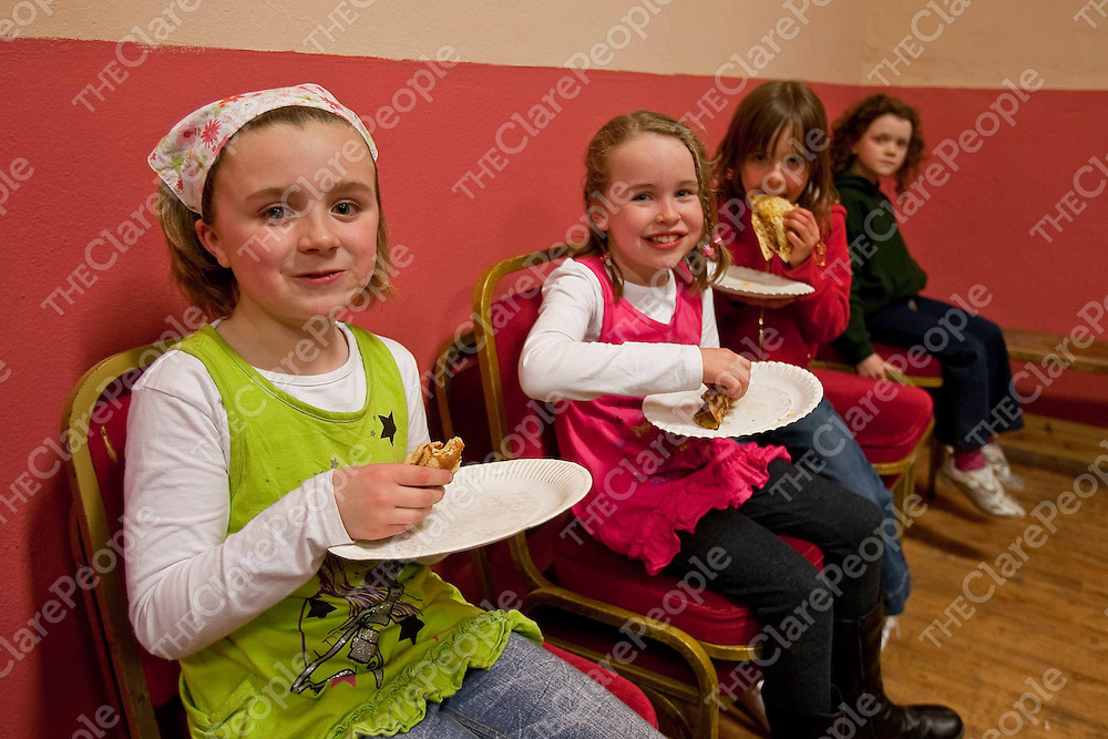 Catriona Egan,Amy Sexton,Tara Baker and Eilis Cooney enjoying some pancakes cooked by the Ibricane Girl Guides and Brownies cooking pancakes at Mullagh hall for pancake Tuesday in aid of the National Childrens Hospital in Tallagh.Photograph by Eamon Ward