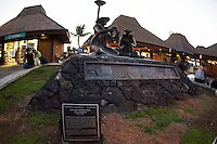 """Kona International Airport Waiting Area. Bronze of """"The Lei Makers"""" Image taken with a Nikon D300 and 10.5 mm f/2.8 fisheye lens (ISO 1400, f/2.8, 1/125 sec). With Nik Define 2 noise reduction applied."""
