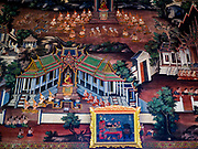 """11 SEPTEMBER 2017 - BANGKOK, THAILAND: A mural in the viharn (prayer hall) at Wat Arun. Renovations are nearly finished at Wat Arun on the Thonburi side of the Chao Phraya River in Bangkok. Wat Arun is famous for its Khmer style main """"prang"""" (chedi). It was originally built in the Ayutthaya Period and rebuilt to its current form in the time of Rama II.      PHOTO BY JACK KURTZ"""