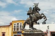 Saint James on horseback or Ecuestre del Apostol Santiago el Mayori in the old colonial section of Santiago de Queretaro, Queretaro State, Mexico.