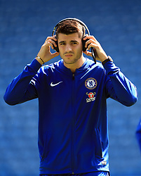 """Chelsea's Alvaro Morata inspects the pitch before the match at the John Smith's Stadium, Huddersfield. PRESS ASSOCIATION Photo. Picture date: Saturday August 11, 2018. See PA story SOCCER Huddersfield. Photo credit should read: Mike Egerton/PA Wire. RESTRICTIONS: EDITORIAL USE ONLY No use with unauthorised audio, video, data, fixture lists, club/league logos or """"live"""" services. Online in-match use limited to 120 images, no video emulation. No use in betting, games or single club/league/player publications."""