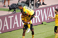Michy Batshuayi of Belgium celebrates after scoring with Youri Tielemans during the 2018 FIFA World Cup Russia, Group G football match between Belgium and Tunisia on June 23, 2018 at Spartak Stadium in Moscow, Russia - Photo Tarso Sarraf / FramePhoto / ProSportsImages / DPPI