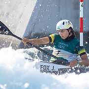 TOKYO, JAPAN - JULY 27:  Jessica Fox of Australia touches the fourth gate on her final run incuring a penalty during the Canoe Slalom finals at the Kasai Canoe Slalom Centre at the Tokyo 2020 Summer Olympic Games on July 27, 2021 in Tokyo, Japan. (Photo by Tim Clayton/Corbis via Getty Images)