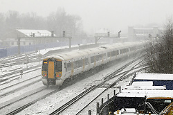 © Licensed to London News Pictures. 18/01/2013.Orpington Train Station with heavy snow..South Eastern services from London Cannon Street to Sevenoaks, Kent, are terminating at Orpington because of the snowy weather..Snow fall in Orpington, South East London/Kent over night..Snow in Orpington and across the UK today (18.01.13) as  temperatures stay low..Photo credit : Grant Falvey/LNP