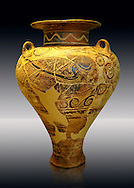 Photo of a  jug decorated with stylised birds bands showing Cycladic and Minoan influences.   Mycenae Grave find, Greece. 15th century BC,  ,  National Archaeological Museum, Athens. .<br /> <br /> If you prefer to buy from our ALAMY PHOTO LIBRARY  Collection visit : https://www.alamy.com/portfolio/paul-williams-funkystock/mycenaean-art-artefacts.html . Type -   Athens    - into the LOWER SEARCH WITHIN GALLERY box. Refine search by adding background colour, place, museum etc<br /> <br /> Visit our MYCENAEN ART PHOTO COLLECTIONS for more photos to download  as wall art prints https://funkystock.photoshelter.com/gallery-collection/Pictures-Images-of-Ancient-Mycenaean-Art-Artefacts-Archaeology-Sites/C0000xRC5WLQcbhQ
