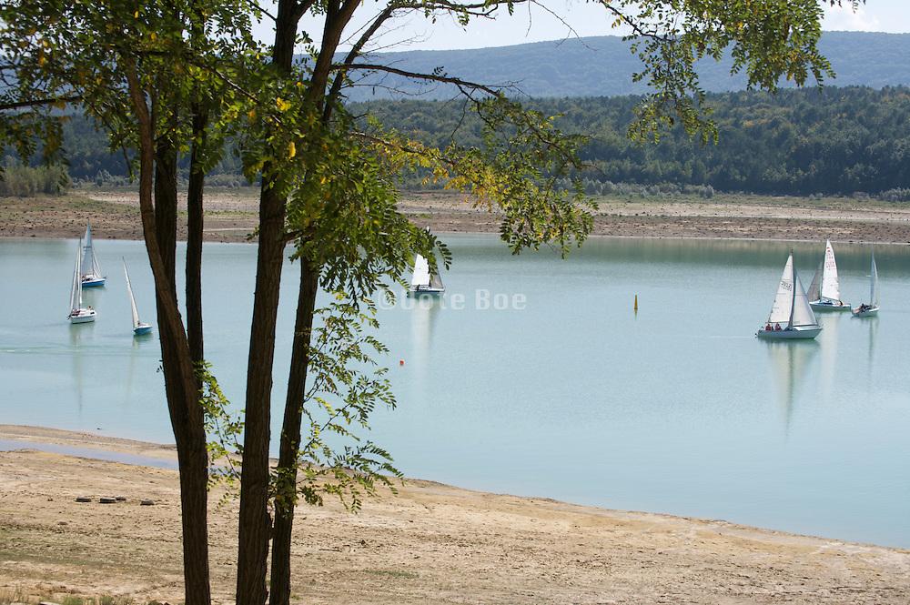 recreational sailboats on a lake South France