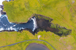 Looking down on Calder's Geo on coast at Eshaness at Northmavine , north mainland of Shetland Islands, Scotland, UK