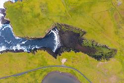 Looking down on Calder's Geo on coast at Eshaness at Northmavine , north mainland of Shetland Islands, Scotland, UK