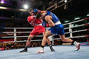 Boxen: Elite, Deutsche Meisterschaften, Finale, Lübeck, 09.12.2017<br /> Halbschwergewicht, 81 KG: Athansios Kazakis (Baden  Würtemberg, rot) - Xhek Paskali (Baden Würtemberg, blau)<br /> © Torsten Helmke