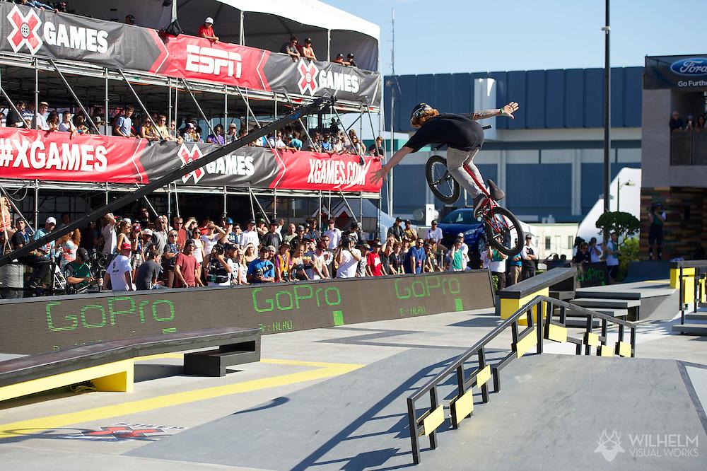 Jeremiah Smith during BMX Street Finals at 2013 X Games Los Angeles in Los Angeles, CA. ©Brett Wilhelm/ESPN