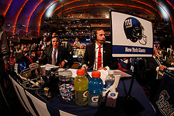 The New York Giants Draft table during the first round of the NFL Draft on April 26th 2012 at Radio City Music Hall in New York, New York. (AP Photo/Brian Garfinkel)