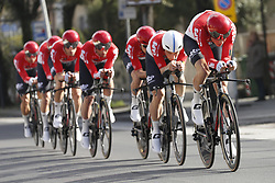 March 7, 2018 - Lido Di Camaiore, ITALY - Lotto Soudal riders pictured in action during the first stage of the 53rd edition of the Tirreno-Adriatico cycling race, a team time trial of 21,5km from and to Lido di Camaiore, Wednesday 07 March 2018, Italy. ..BELGA PHOTO YUZURU SUNADA (Credit Image: © Yuzuru Sunada/Belga via ZUMA Press)