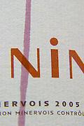 La Nine with a streak of red wine on the label. Domaine Jean Baptiste Senat. In Trausse. Minervois. Languedoc. France. Europe. Bottle.