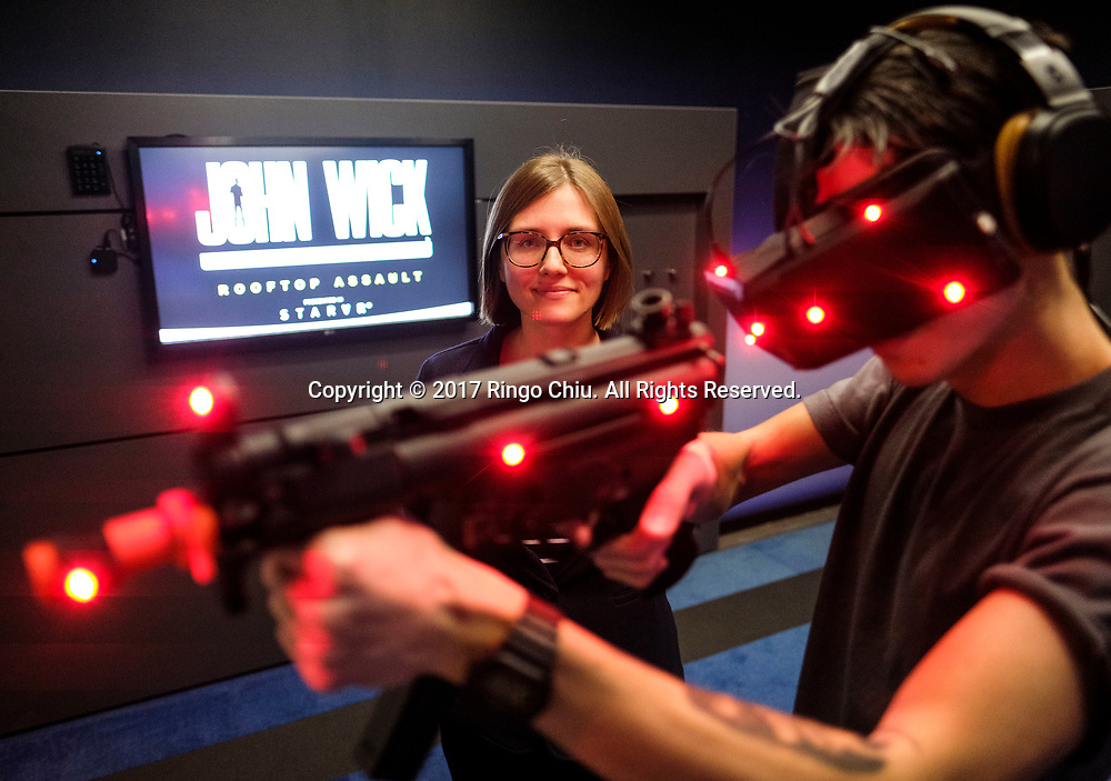 Kasia Swica, manager of corporate development in IMAX, a virtual reality arcade in Los Angeles(Photo by Ringo Chiu/PHOTOFORMULA.com)<br /> <br /> Usage Notes: This content is intended for editorial use only. For other uses, additional clearances may be required.
