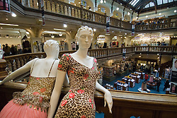 Mannequins standing in atrium of famous Jenners Department Store in Edinburgh Scotland