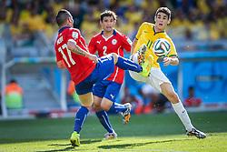 Oscar Emboaba na partida entre Brasil x Chile, válida pelas oitavas de final da Copa do Mundo 2014, no Estádio Mineirão, em Belo Horizonte. FOTO: Jefferson Bernardes/ Agência Preview