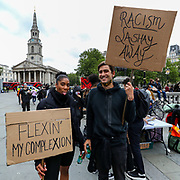 Black Lives Matter supporters holds a placard in Trafalgar Square during a protests in London, Friday, June 12, 2020. Anger against systemic levels of institutional racism has raged through the city, and worldwide; sparked following the death of George Floyd in the United States on May 25, 2020. (Photo/ Vudi Xhymshiti)