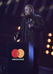 Rad'n'Bone Man with the award for Best British Breakthrough Artist on stage at the BRIT Awards 2017, held at The O2 Arena, in London.<br /><br />Picture date Tuesday February 22, 2017. Picture credit should read Matt Crossick/ EMPICS Entertainment. Editorial Use Only - No Merchandise.