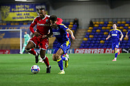 AFC Wimbledon attacker Ryan Longman (29) battles for possession with Gillingham FC defender Ryan Jackson (2) during the EFL Sky Bet League 1 match between AFC Wimbledon and Gillingham at Plough Lane, London, United Kingdom on 23 February 2021.