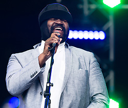 © Licensed to London News Pictures. 27/06/2015. Pilton, UK.  Gregory Porter performing at Glastonbury Festival 2015 on Saturday Day 4 of the festival on the West Holts stage.  This years headline acts include Kanye West, The Who and Florence and the Machine, the latter being upgraded in the bill to replace original headline act Foo Fighters. Photo credit: Richard Isaac/LNP