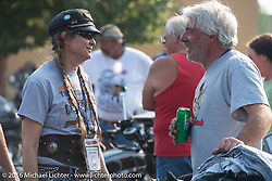 Cris Sommer Simmons and Frank Westfall at High Desert Harley-Davidson in Meridian, Idaho for the hosted dinner strop at the end of stage 13 (257 miles) of the Motorcycle Cannonball Cross-Country Endurance Run, which on this day ran from Elko, NV to Meridian, Idaho, USA. Thursday, September 18, 2014.  Photography ©2014 Michael Lichter.