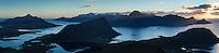 Panoramic view of mountain landscape from summit of Holandsmelen, Vestvagoy, Lofoten Islands, Norway