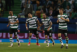October 31, 2017 - Lisbon, Portugal - Sporting's forward Bruno Cesar (2nd R)  celebrates his goal with his teammates during Champions League 2017/18 match between Sporting CP vs Juventus FC, in Lisbon, on October 31, 2017. (Credit Image: © Carlos Palma/NurPhoto via ZUMA Press)